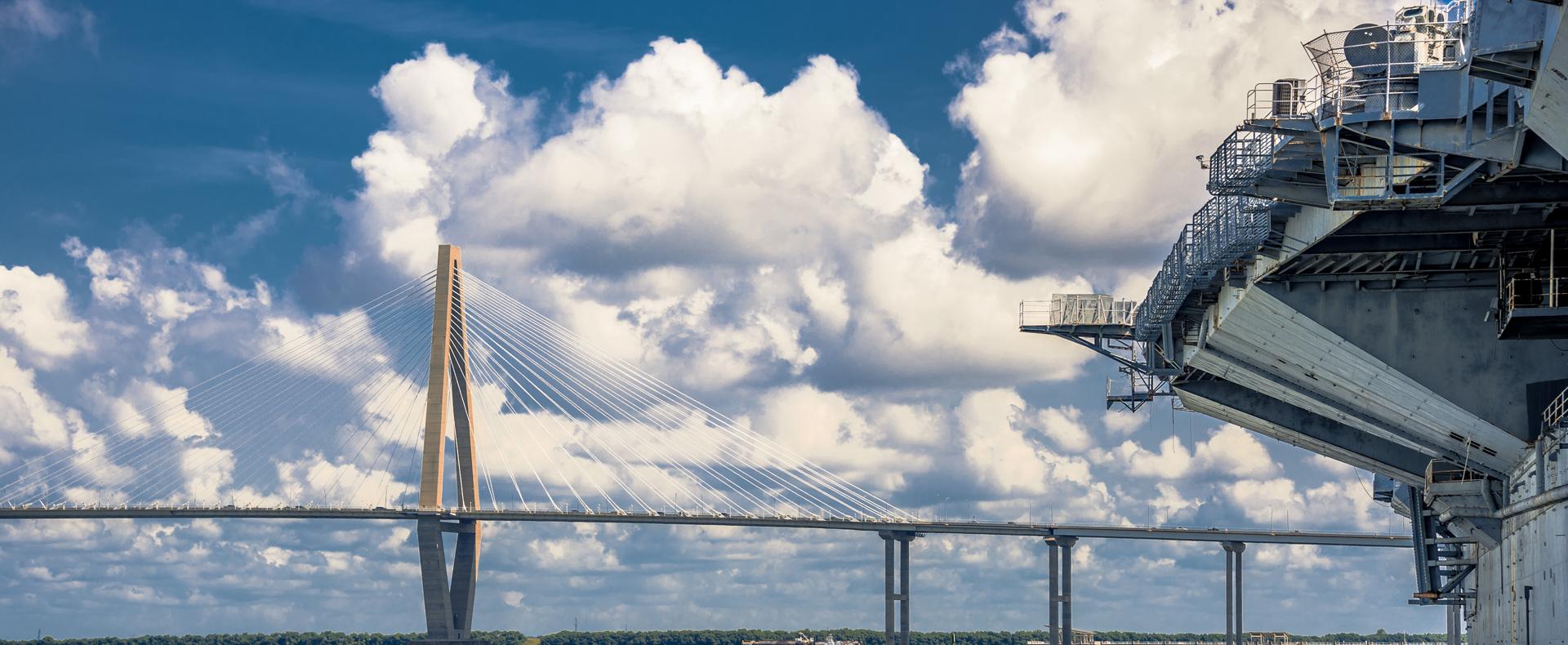 Arthur Ravenel Jr. Bridge and USS Yorktown in Charleston SC Image
